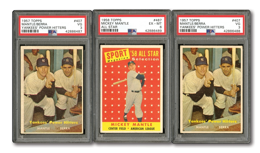 YANKEES TRIO OF 1958 TOPPS #487 MICKEY MANTLE ALL-STAR (PSA EX-MT 6) AND PAIR OF 1957 TOPPS #407 MANTLE/BERRA POWER HITTERS (BOTH PSA VG 3)