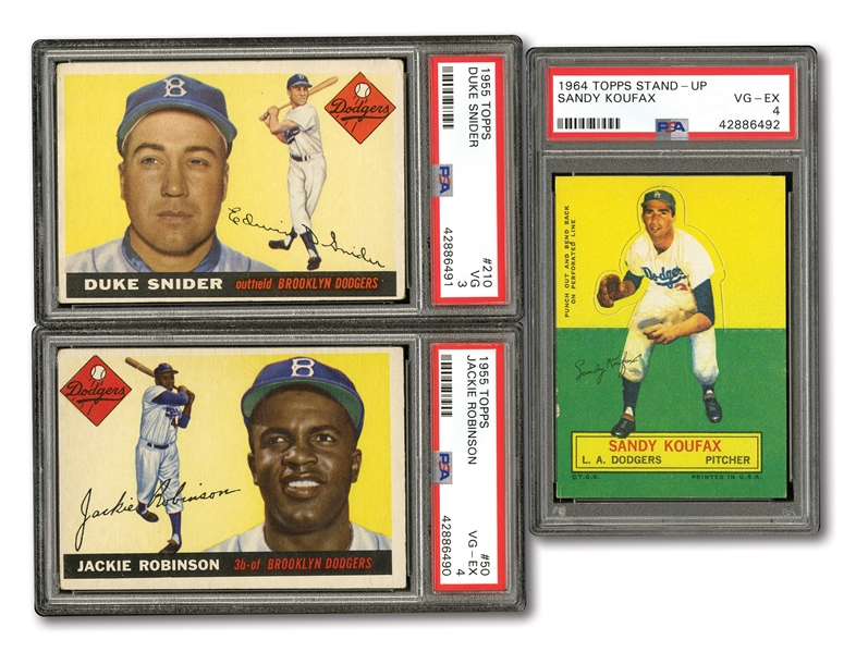 DODGERS TRIO OF 1955 TOPPS #50 JACKIE ROBINSON (PSA VG-EX 4), 1955 TOPPS #210 DUKE SNIDER (PSA VG 3) AND 1964 TOPPS STAND-UP SANDY KOUFAX (PSA VG-EX 4)