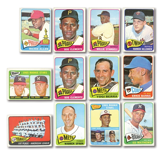 1965 TOPPS BASEBALL STARTER SET OF 227 DIFFERENT PLUS 65 DUPLICATES (292 TOTAL CARDS)