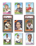 1966 TOPPS BASEBALL PARTIAL SET (444/598) INCL. #1 MAYS PSA NM 7 AND #50 MANTLE PSA EX-MT 6