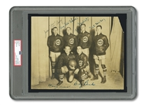 "INCREDIBLY RARE C. EARLY 1930S ""ORIGINAL CELTICS"" TEAM SIGNED ORIGINAL (7.5"" BY 9.5"") WITH JOE LAPCHICK, DUTCH DEHNERT, PETE BARRY, HICKEY & BANKS (PSA/DNA TYPE I / NM-MT 8 AUTO.)"