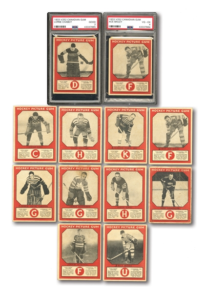 1933-34 CANADIAN GUM V252 PARTIAL SET (27/50) INCL. PSA GRADED ACE BAILEY & LORNE CHABOT