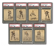 "1933 WORLD WIDE GUM V357 ""ICE KINGS"" STARTER SET (25/72) WITH THREE PSA NM 7 AND GRADED JOLIAT & PRIMEAU ROOKIES"