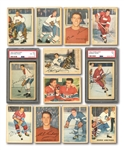 1953-54 PARKHURST HOCKEY NEAR COMPLETE SET (98/100) INCL. PSA GRADED BELIVEAU ROOKIE & HOWE - MISSING ONLY 2 COMMONS