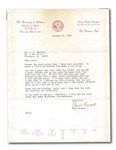 "JAN. 25, 1983 PAUL ""BEAR"" BRYANT TYPED SIGNED LETTER DATED THE DAY BEFORE HIS DEATH – HIS LAST KNOWN AUTOGRAPH! (EXCELLENT PROVENANCE)"