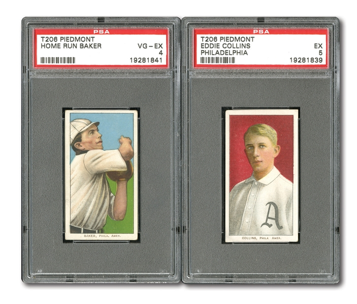 1909-11 T206 EDDIE COLLINS (PSA EX 5) AND HOME RUN BAKER (PSA VG-EX 4) WITH PIEDMONT BACKS