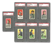 1909-11 T206 PSA GRADED LOT OF (7) INCL. HUGHIE JENNINGS (VG-EX+ 4.5) AND SIX OTHERS (ALL EX 5 TO EX-MT+ 6.5)