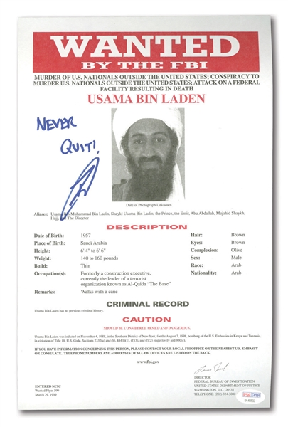 "ROBERT J. ONEILL SIGNED OSAMA BIN LADEN FBI WANTED PAMPHLET - US NAVY ""SEAL TEAM 6"" MAN WHO KILLED BIN LADEN!"
