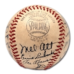 1943 NEW YORK GIANTS TEAM SIGNED ONL (FRICK) BASEBALL WITH ALL NOTABLES