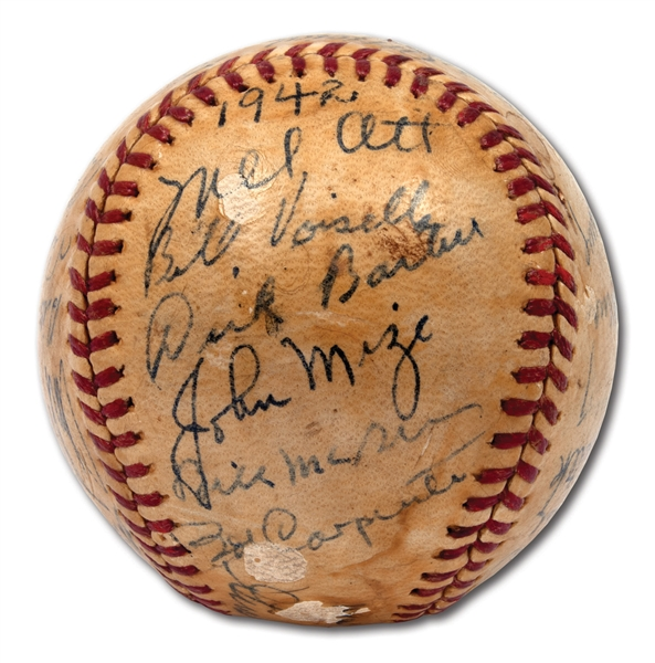 1942 NEW YORK GIANTS TEAM SIGNED ONL (FRICK) BASEBALL WITH ALL NOTABLES