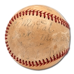 1940S BABE RUTH SIGNED AND INSCRIBED BASEBALL ALSO AUTOGRAPHED BY BILL TERRY