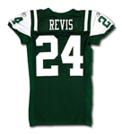 10/11/2010 DARRELLE REVIS NEW YORK JETS GAME WORN HOME JERSEY PHOTO-MATCHED TO WIN VS. VIKINGS (NFL & PSA/DNA)