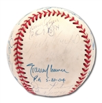 PERFECT GAME PITCHERS MULTI-SIGNED BASEBALL WITH 11 AUTOGRAPHS & NOTATIONS INCL. HUNTER AND KOUFAX
