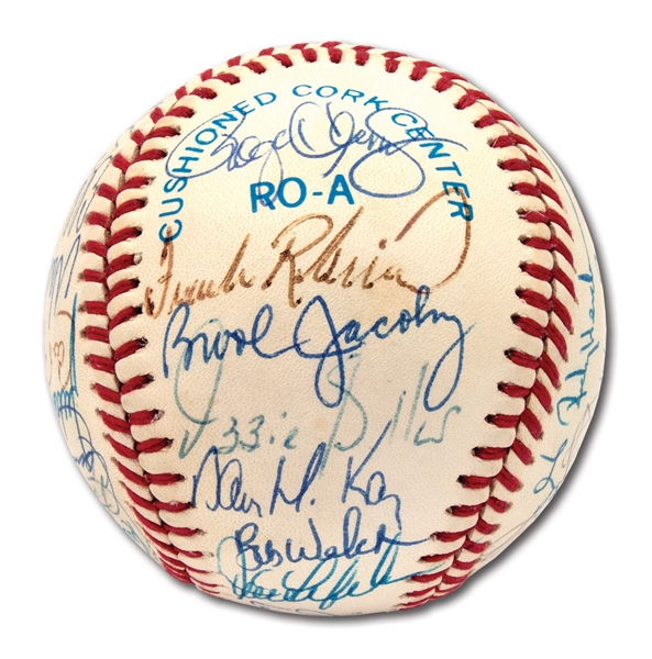 1990 AMERICAN LEAGUE ALL-STAR TEAM SIGNED OAL (BROWN) BASEBALL