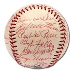 1980 HALL OF FAME INDUCTION MULTI-SIGNED BASEBALL INCL. MARIS, DiMAGGIO, ETC.