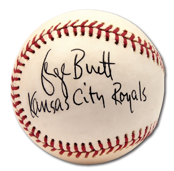 "GEORGE BRETT VINTAGE SINGLE SIGNED OAL (MacPHAIL) BASEBALL WITH ""KANSAS CITY ROYALS"" NOTATION"