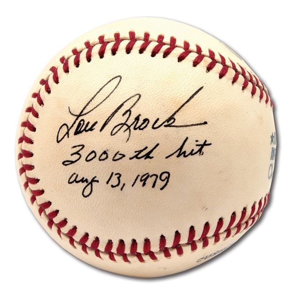 "LOU BROCK VINTAGE SINGLE SIGNED ONL (FEENEY) BASEBALL WITH ""3,000TH HIT AUG. 13, 1979"" NOTATION"