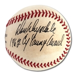 "DON DRYSDALE VINTAGE SINGLE SIGNED ONL (GILES) BASEBALL WITH ""1962 CY YOUNG AWARD"" NOTATION"