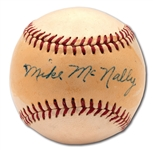 MIKE McNALLY SINGLE SIGNED OAL (HARRIDGE) BASEBALL - MEMBER OF 1923 W.S. CHAMPION YANKEES (PINSTRIPE DYNASTY COLLECTION)