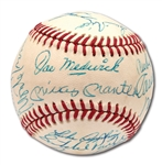1974 HALL OF FAME INDUCTION MULTI-SIGNED BASEBALL INCL. MANTLE, STENGEL, FORD, PAIGE, KELLY, ETC.