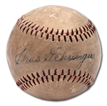 VINTAGE 1940S CHARLIE GEHRINGER SINGLE SIGNED BASEBALL