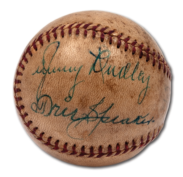 TRIS SPEAKER AUTOGRAPHED BASEBALL WITH GAME USE ATTRIBUTION TO MAY 1, 1955 BOSTON RED SOX AT CLEVELAND INDIANS