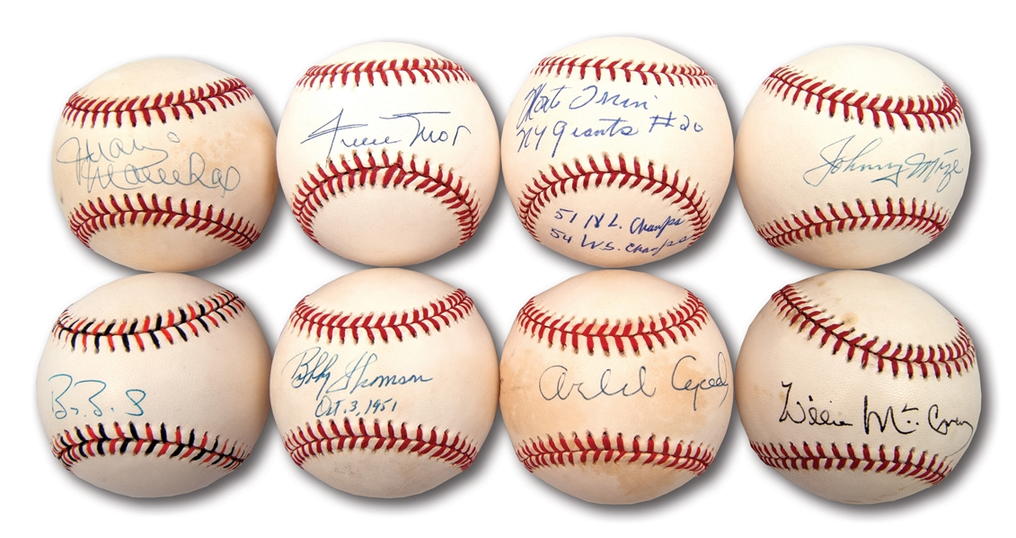 NEW YORK/SAN FRANCISCO GIANTS LEGENDS LOT OF (8) SINGLE SIGNED BASEBALLS