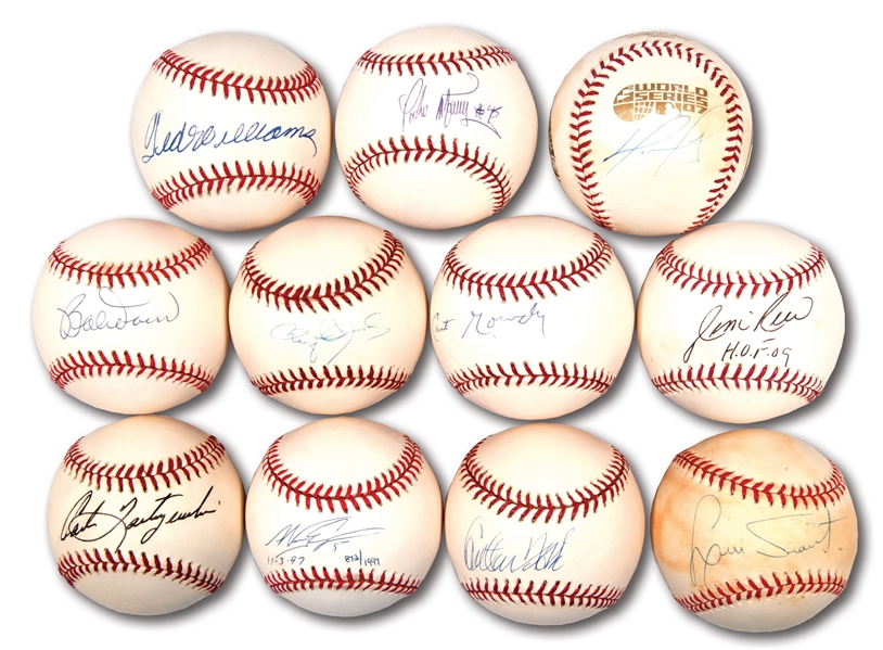 BOSTON RED SOX LEGENDS LOT OF (11) SINGLE SIGNED BASEBALLS