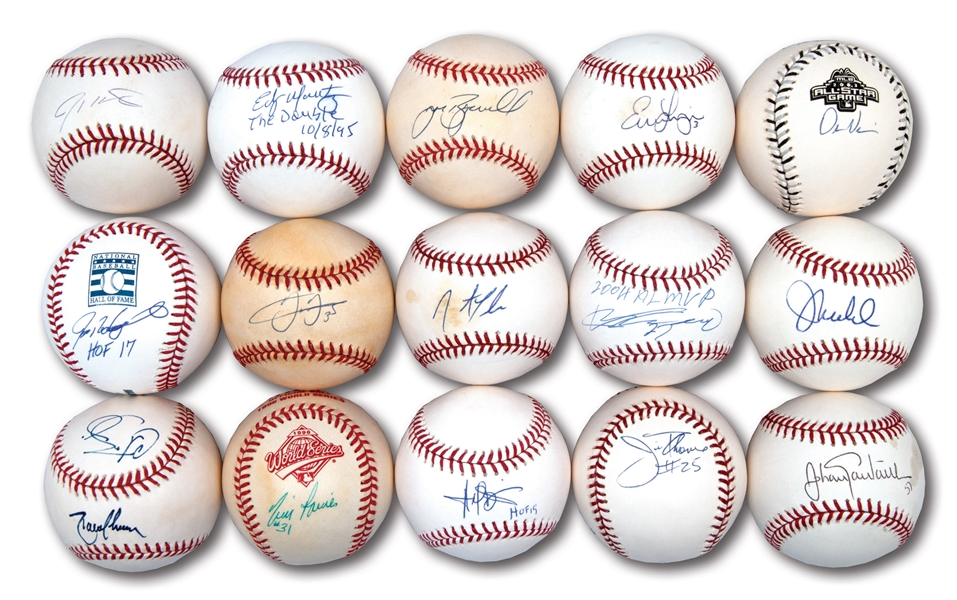 1990S-2000S STARS AND HOFERS LOT OF (15) SINGLE SIGNED BASEBALLS
