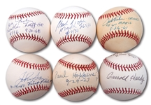 LOT OF (6) SINGLE SIGNED BASEBALLS WITH NOTATIONS REFERENCING SPECIAL ASSOCIATIONS WITH BABE RUTH, JACKIE ROBINSON, MICKEY MANTLE, ROGER MARIS AND TED WILLIAMS