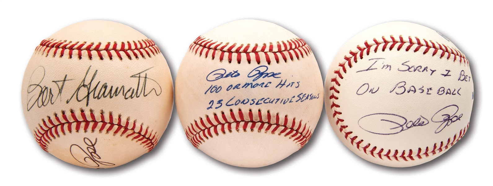 LOT OF (3) PETE ROSE AUTOGRAPHED BASEBALLS INCL. ROSE/GIAMATTI DUAL SIGNED