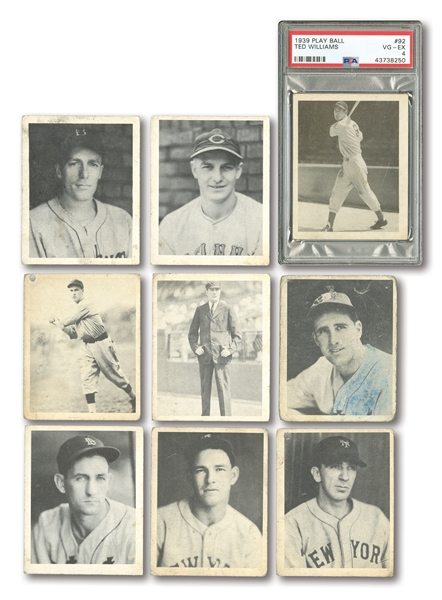 1939 PLAY BALL STARTER SET (30/162) INCL. #92 TED WILLIAMS ROOKIE PSA VG-EX 4