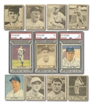 1940 PLAY BALL (68/240) AND 1941 PLAY BALL (26/72) STARTER SETS WITH THREE PSA GRADED NOTABLES