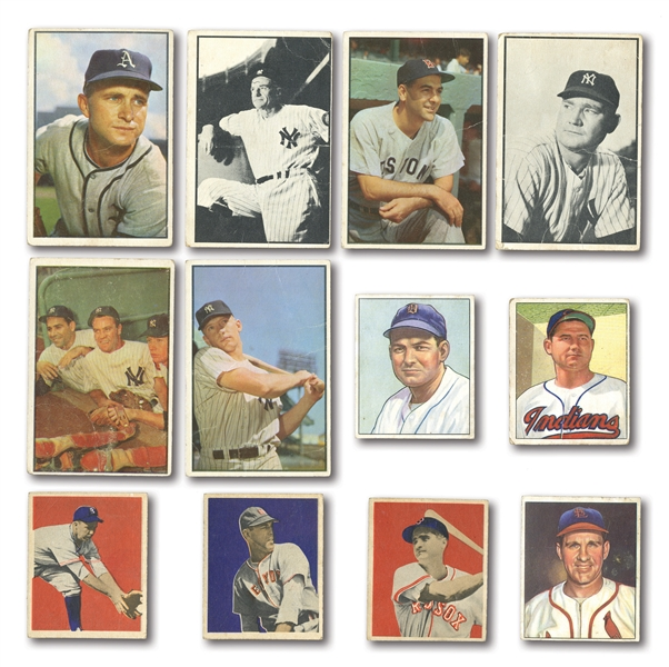 1949, 1950 AND 1953 BOWMAN (COLOR AND B&W) STARTER SETS WITH 141 TOTAL CARDS INCL. #59 MANTLE