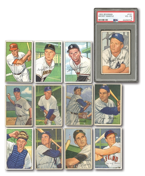 1952 BOWMAN STARTER SET (47/252) INCL. #101 MICKEY MANTLE PSA VG-EX 4
