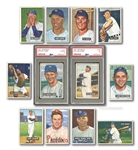 1951 BOWMAN STARTER SET (59/324) INCL. PSA GRADED #1 WHITEY FORD ROOKIE AND #165 TED WILLIAMS