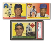 1955 TOPPS TRIO OF #123 SANDY KOUFAX ROOKIE (PSA 2.5), #124 KILLEBREW RC AND #28 BANKS