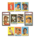 1953-65 CARD LOT OF (27) HALL OF FAMERS INCL. PSA GRADED 53 TOPPS PAIGE & 58 TOPPS MANTLE