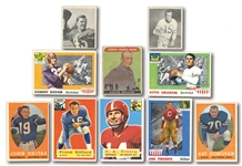 1933-58 FOOTBALL LEGENDS AND HALL OF FAMERS CARD LOT OF (20) INCL. ROCKNE, THORPE, UNITAS, BAUGH (RC), GRAHAM, ETC.