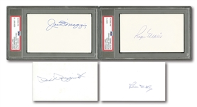NEW YORK YANKEES LEGENDS LOT OF (11) SINGLE SIGNED INDEX CARDS INCL. PSA/DNA GRADED MARIS (MINT 9) & DiMAGGIO (GEM MINT 10)