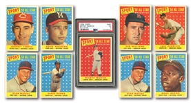 1958 TOPPS (104/494), 1960 TOPPS (134/572) AND 1961 TOPPS (111/587) STARTER SETS PLUS 90 DUPLICATES - 439 TOTAL CARDS