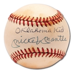 "MICKEY MANTLE SINGLE SIGNED OAL (BROWN) BASEBALL INSCRIBED ""OKLAHOMA KID"""