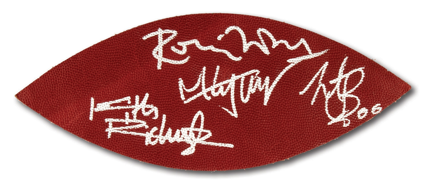 "2006 SUPER BOWL XL LEATHER FOOTBALL PANEL SIGNED BY EACH MEMBER OF ""THE ROLLING STONES"" (NFL & PSA/DNA COA)"