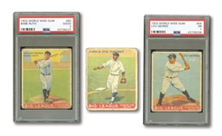 1933 WORLD WIDE GUM #80 BABE RUTH (PSA GD 2), #55 LOU GEHRIG (PSA PR 1) AND #22 PIE TRAYNOR