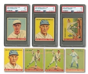 1933 & 1934 WORLD WIDE GUM LOT OF (7) INCL. #1 HORNSBY AND #4 MARANVILLE (BOTH PSA EX 5)