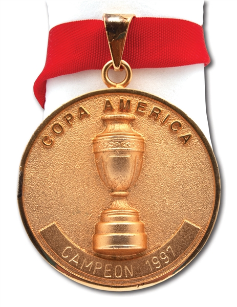 1997 COPA AMERICA GOLD WINNERS MEDAL ISSUED TO BRAZIL (TEAM TECHNICAL COORDINATOR LOA)