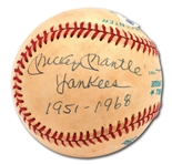 "MICKEY MANTLE SINGLE SIGNED OAL (BROWN) BASEBALL INSCRIBED ""YANKEES 1951-1968"""
