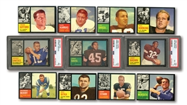 1962 TOPPS FOOTBALL COMPLETE SET OF (176) WITH PSA GRADED UNITAS (NM 7), JIM BROWN (EX-MT 6) AND E.DAVIS (EX 5)