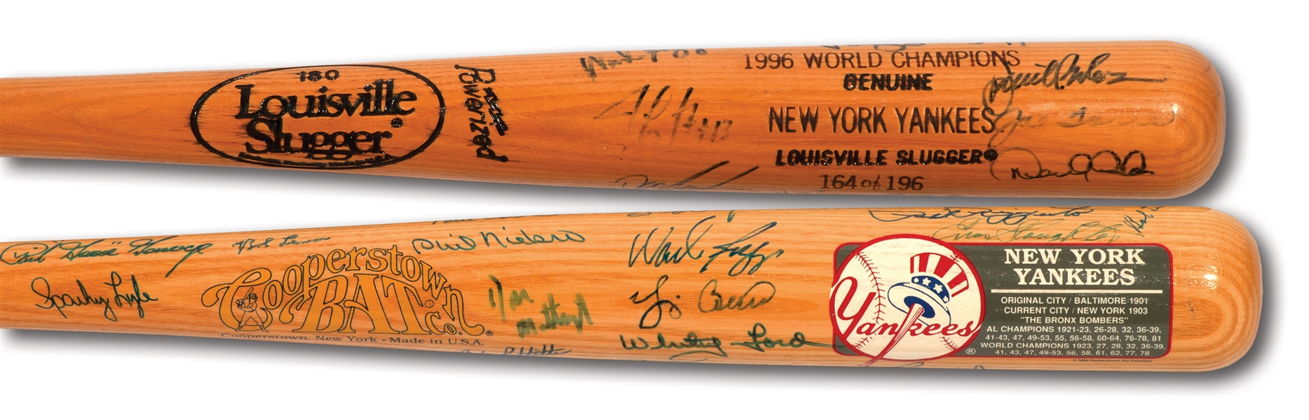 NEW YORK YANKEES PAIR OF MULTI-SIGNED BATS INCL. 1996 TEAM AND ALL-TIME GREATS (PINSTRIPE DYNASTY COLLECTION)