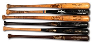 LOT OF (6) 1990'S - 2000S ALL-STARS PROFESSIONAL MODEL GAME USED BATS INCL. R. ALOMAR, JOE CARTER, GARCIAPARRA, GIAMBI, MCGRIFF AND PALMEIRO